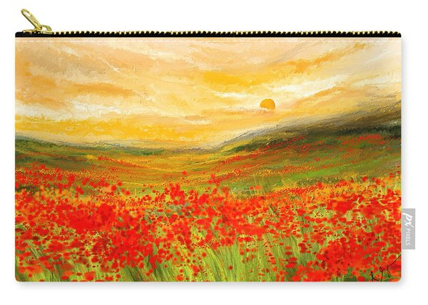 Field Of Poppies- Field Of Poppies Impressionist Painting Carry-all Pouch