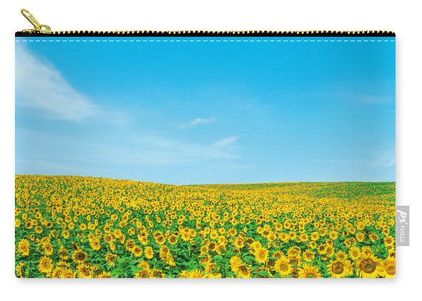 Field Of Sunflower With Blue Sky Carry-all Pouch