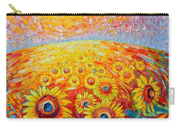 Fields Of Gold - Abstract Landscape With Sunflowers In Sunrise Carry-all Pouch