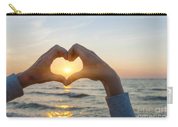 Fingers Heart Framing Ocean Sunset Carry-all Pouch
