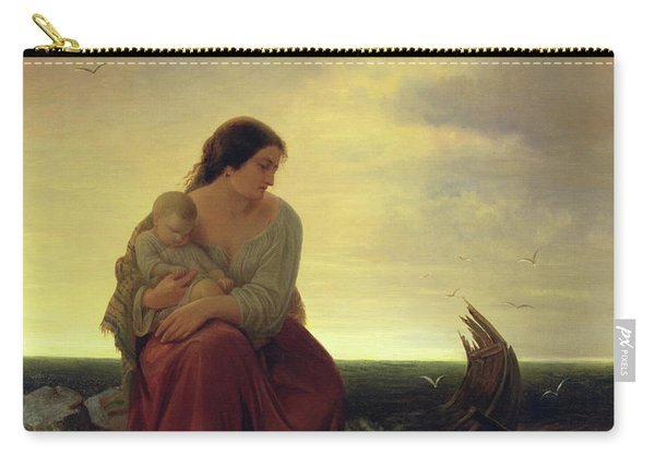 Fishermans Wife Mourning On The Beach Oil On Canvas Carry-all Pouch