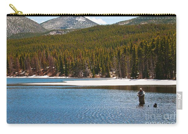 Carry-all Pouch featuring the photograph Fishing In Winter by Mae Wertz