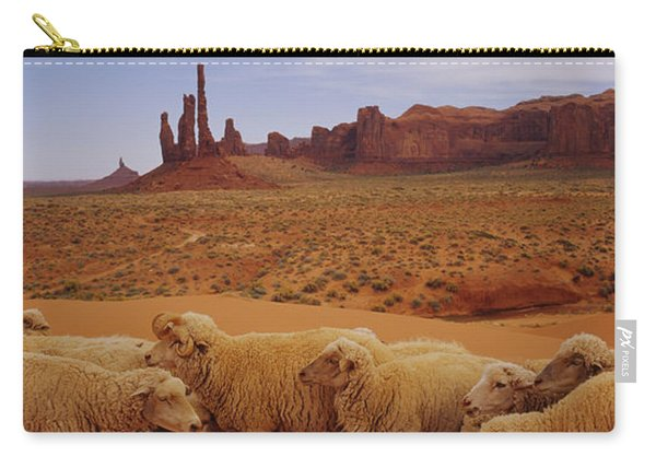 Flock Of Sheep In An Arid Landscape Carry-all Pouch