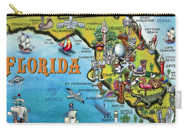 Florida Cartoon Map Carry-all Pouch