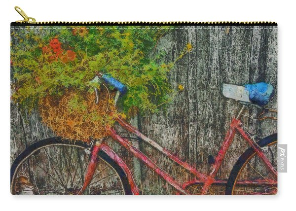Flower Basket On A Bike Carry-all Pouch