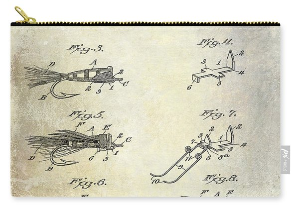 1922 Fly Fishing Lure Patent Drawing Carry-all Pouch