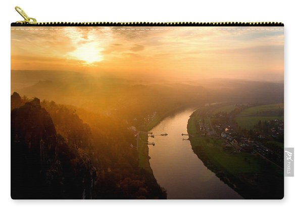 Foggy Sunrise At The Elbe Carry-all Pouch