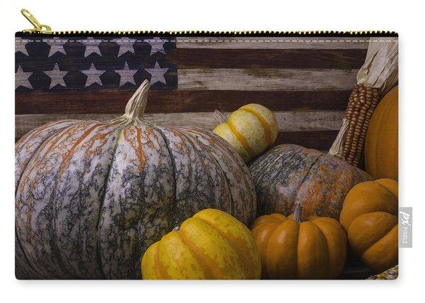 Folk Art Flag And Pumpkins Carry-all Pouch