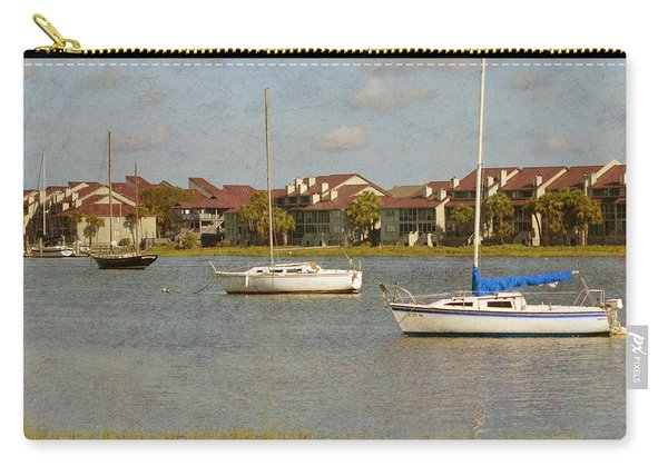 Carry-all Pouch featuring the photograph Folly Beach Boats by Michael Colgate