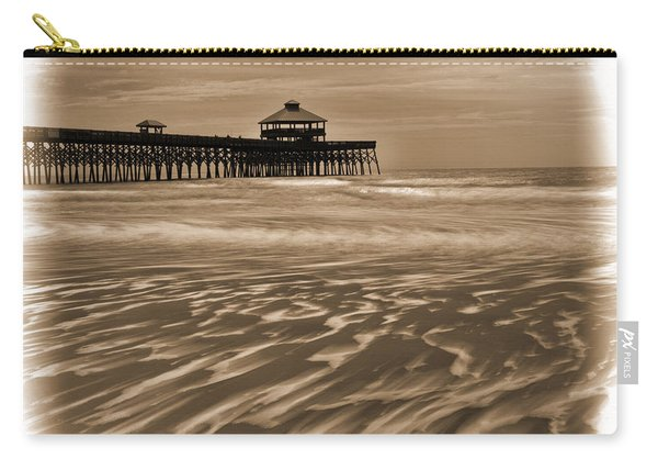 Folly Beach Pier Toned Carry-all Pouch