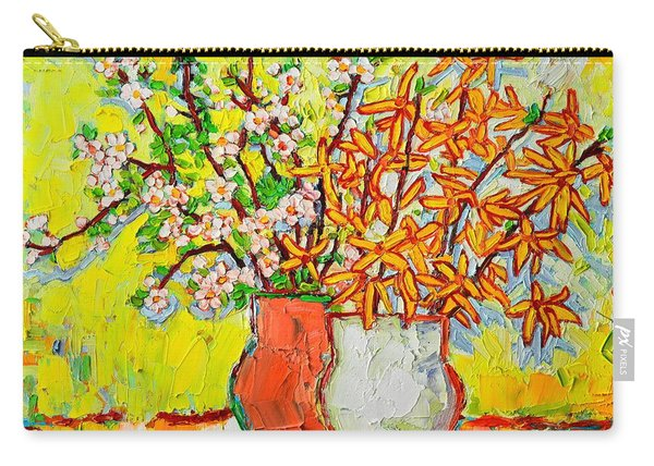 Forsythia And Cherry Blossoms Spring Flowers Carry-all Pouch