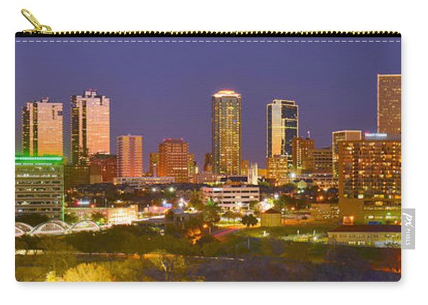 Fort Worth Skyline At Night Color Evening Panorama Ft. Worth Texas Carry-all Pouch