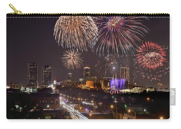 Fort Worth Skyline At Night Fireworks Color Evening Ft. Worth Texas Carry-all Pouch