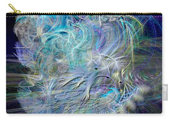 Fractal Feathers Blue Carry-all Pouch