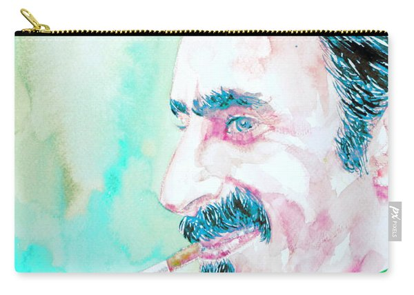 Frank Zappa Smoking A Cigarette Watercolor Portrait Carry-all Pouch
