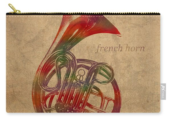 French Horn Brass Instrument Watercolor Portrait On Worn Canvas Carry-all Pouch