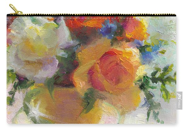 Carry-all Pouch featuring the painting Fresh - Roses In Teacup by Talya Johnson