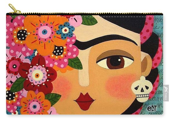 Frida Kahlo With Flowers And Skull Carry-all Pouch