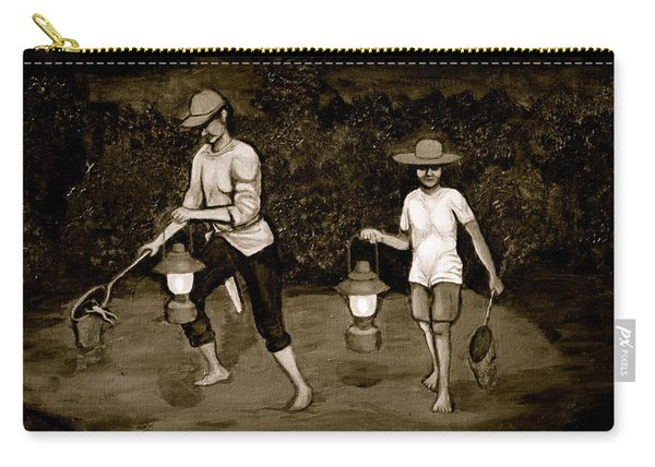 Frog Hunters Black And White Photograph Version Carry-all Pouch
