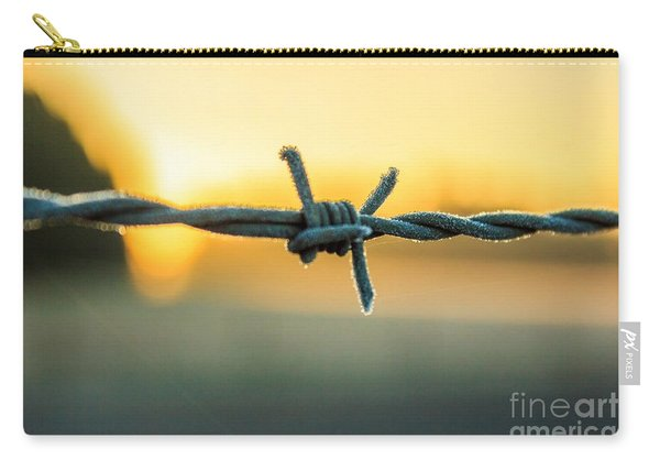 Frost On Barbed Wire At Sunrise Carry-all Pouch