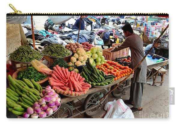 Fruit And Vegetable Seller Tends To His Cart Outside Empress Market Karachi Pakistan Carry-all Pouch