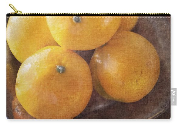 Fruit Still Life Oranges And Antique Silver Carry-all Pouch