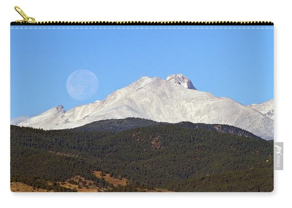 Full Moon Setting Over Snow Covered Twin Peaks  Carry-all Pouch