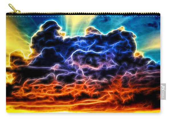 Funky Glowing Electrified Rainbow Clouds Abstract Carry-all Pouch