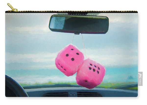 Furry Dice Hanging In A Car Carry-all Pouch