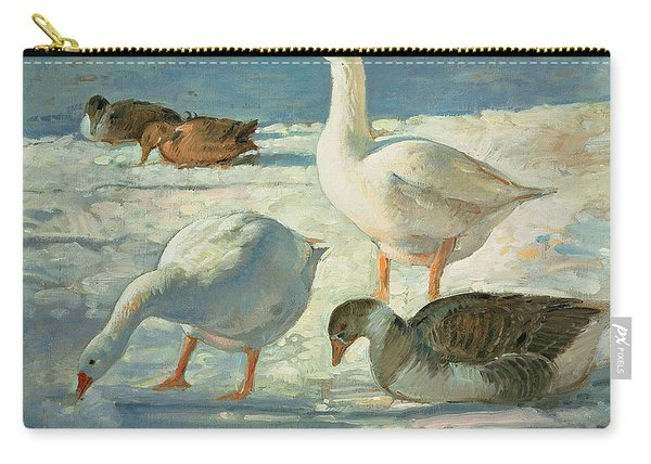 Geese And Mallards, 2000 Oil On Canvas Carry-all Pouch