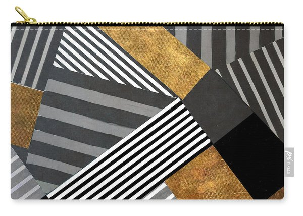 Geo Stripes In Gold And Black II Carry-all Pouch