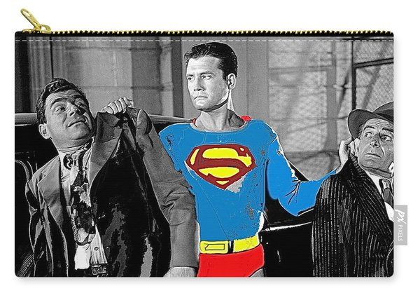 George Reeves As Superman In His 1950's Tv Show Apprehending Two Bad Guys 1953-2010 Carry-all Pouch
