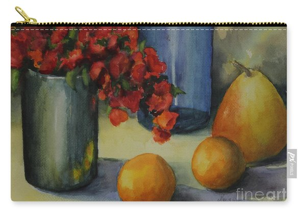 Geraniums With Pear And Oranges Carry-all Pouch