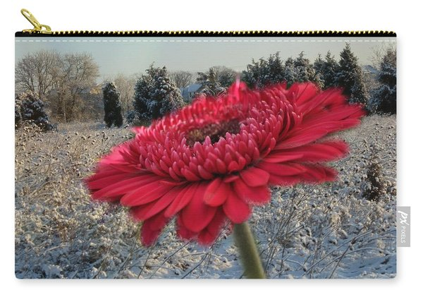 Gerbera Daisy In The Snow Carry-all Pouch