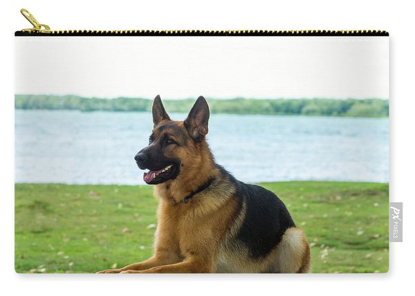 German Shepherd Dog Sitting By River Carry-all Pouch
