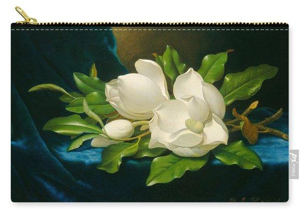 Giant Magnolias On A Blue Velvet Cloth Carry-all Pouch