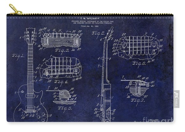 Gibson Les Paul Patent Drawing Blue Carry-all Pouch
