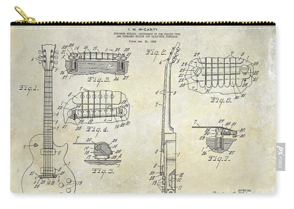 Gibson Les Paul Patent Drawing Carry-all Pouch