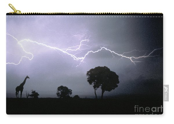 Giraffe And Lightning Carry-all Pouch