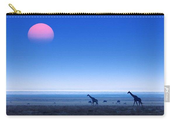 Giraffes On Salt Pans Of Etosha Carry-all Pouch