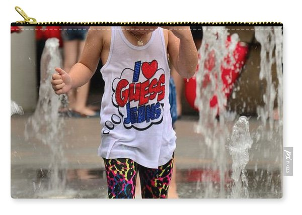 Girl Child Plays With Water At Fountain Singapore Carry-all Pouch