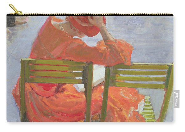 Girl In A Red Dress Reading By A Swimming Pool Carry-all Pouch