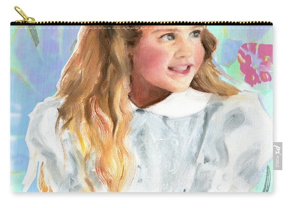 Carry-all Pouch featuring the painting Girl In A White Lace Dress  by Greta Corens