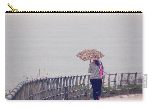 Girl Walking With Umbrella Carry-all Pouch