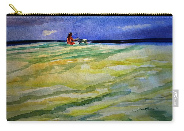 Girl With Dog On The Beach Carry-all Pouch