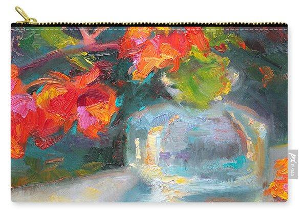 Carry-all Pouch featuring the painting Gleaning Light Nasturtium Still Life by Talya Johnson