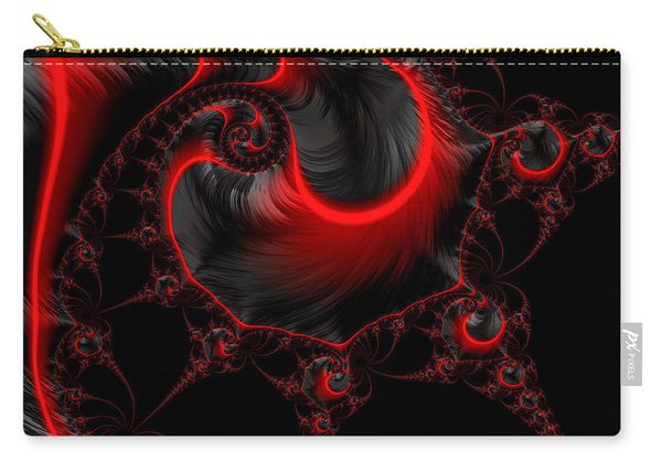 Glowing Red And Black Abstract Fractal Art Carry-all Pouch