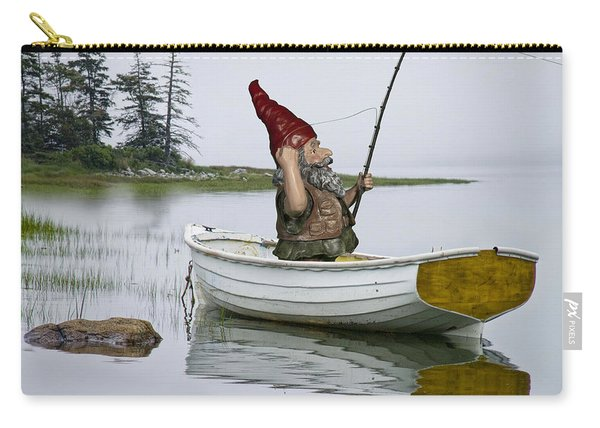 Gnome Fisherman In A White Maine Boat On A Foggy Morning Carry-all Pouch