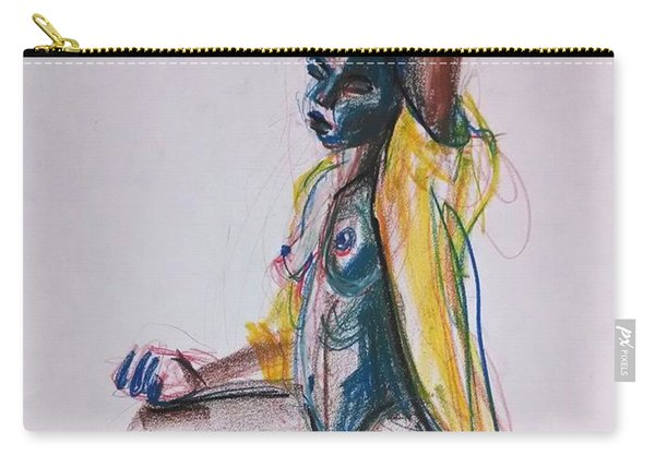 Carry-all Pouch featuring the drawing Goddess by Gabrielle Wilson-Sealy