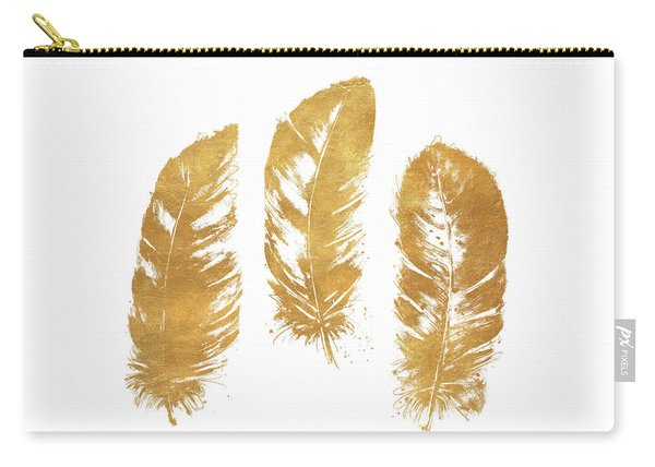 Gold Feather Square Carry-all Pouch
